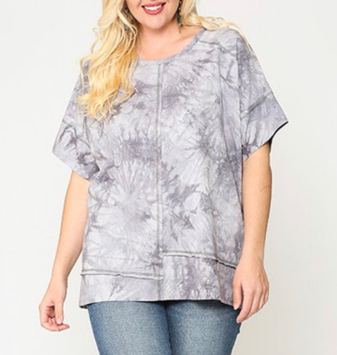 Silver Tie Dye Top-Plus