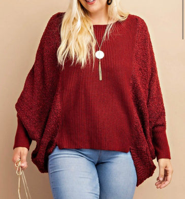Burgundy High-Low Sweater-Plus