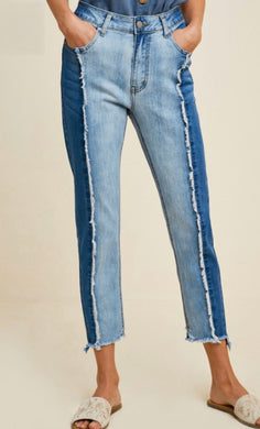 Two Tone Frayed Denim