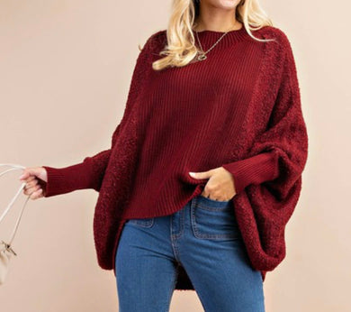 Burgundy High-Low Sweater