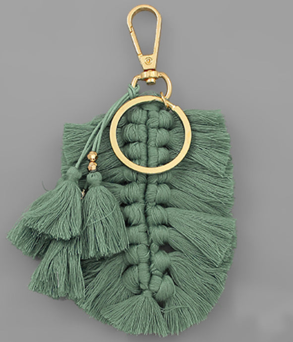 Braided Tassel Key Chain - Sage