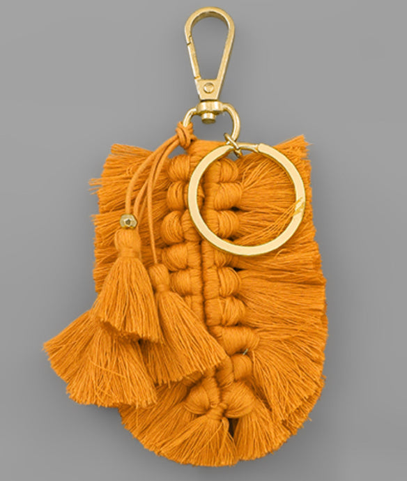 Braided Tassel Key Chain - Mustard