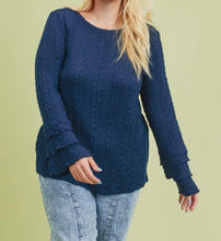 Load image into Gallery viewer, Navy Cable Knit Sweater - Plus