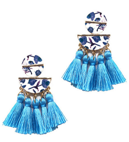 Flower Tassel Earring-Blue