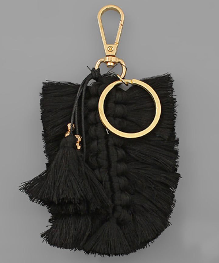 Braided Tassel Key Chain - Black