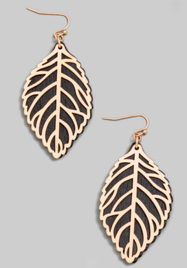 Wooden Leaf Earring - Black