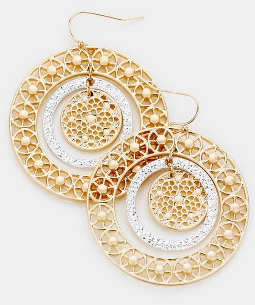 Two Tone Circle Earring