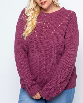 Plum Cable Knit Sweater - Plus