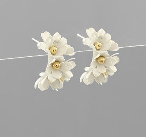 Flower Studded Hoop Earring