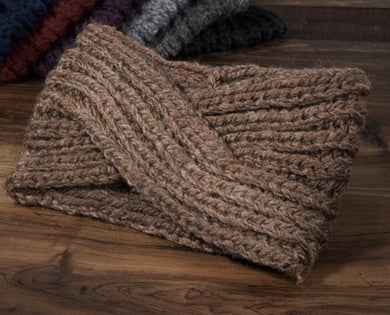 Twisted Knit Headband-Taupe