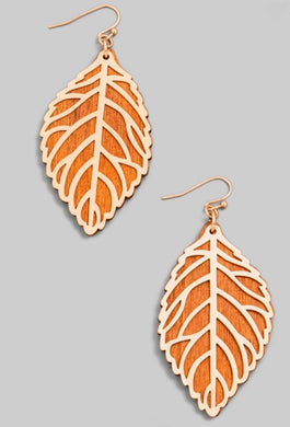 Wooden Leaf Earring - Brown
