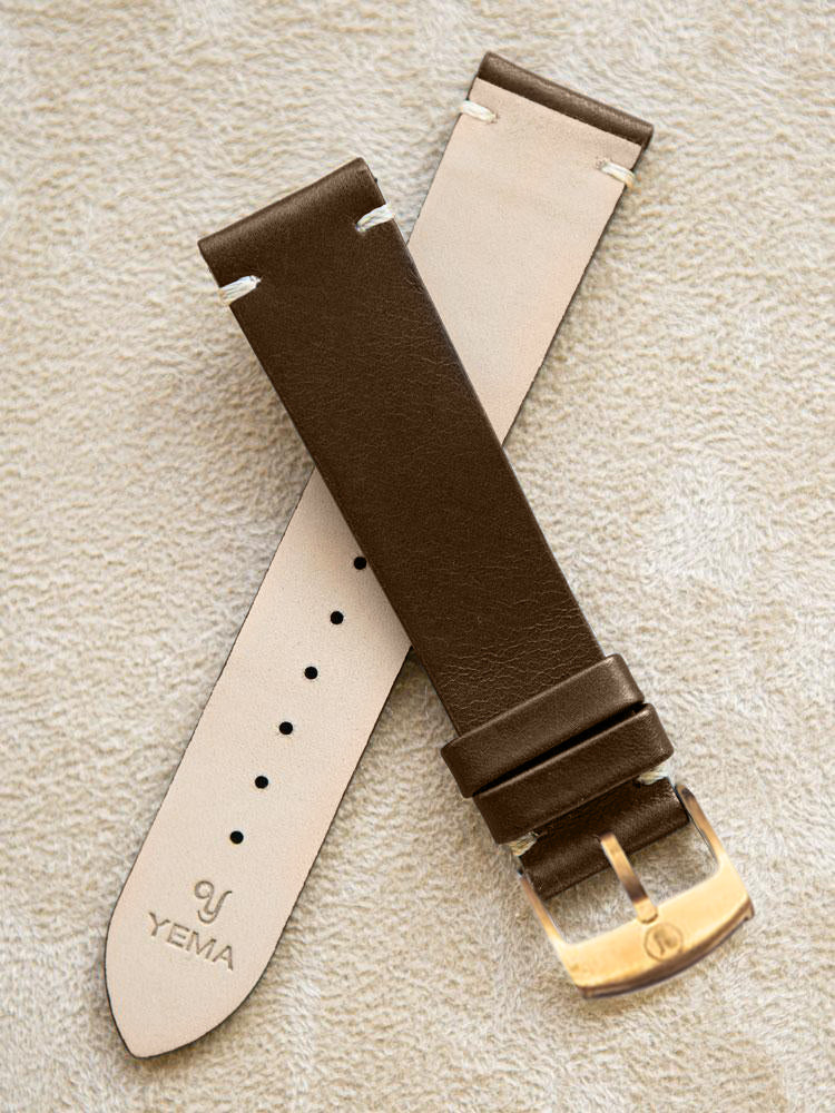 Brown Leather Vintage Watch Band 20 mm Bronze Buckle