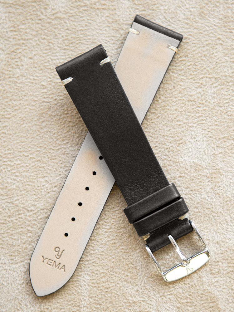 Black Leather Vintage Watch Band 20mm
