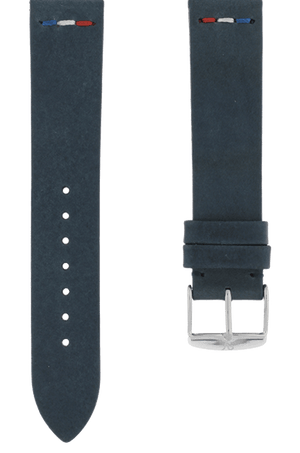 Navy Blue Leather Vintage France Flag Watch Band 19mm