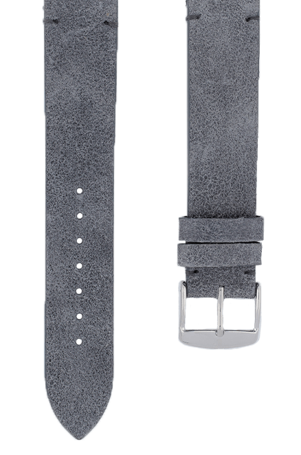 Blue-Grey Suede Leather Watch Band 19mm