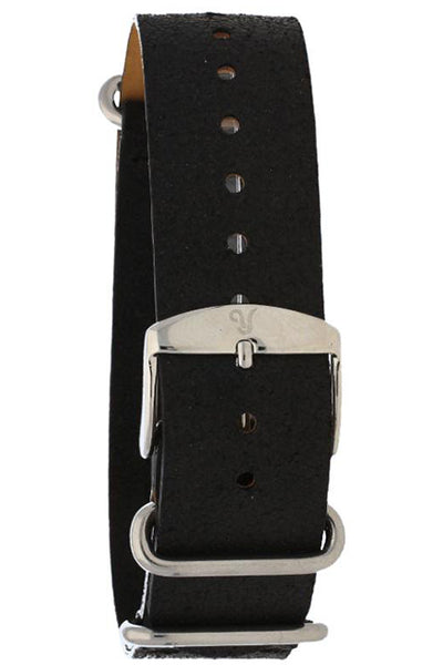 NATO Black Leather Watch Band 20mm