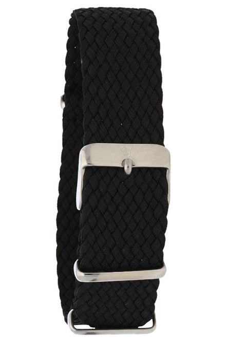 Black Braided Perlon Watch Band 20mm