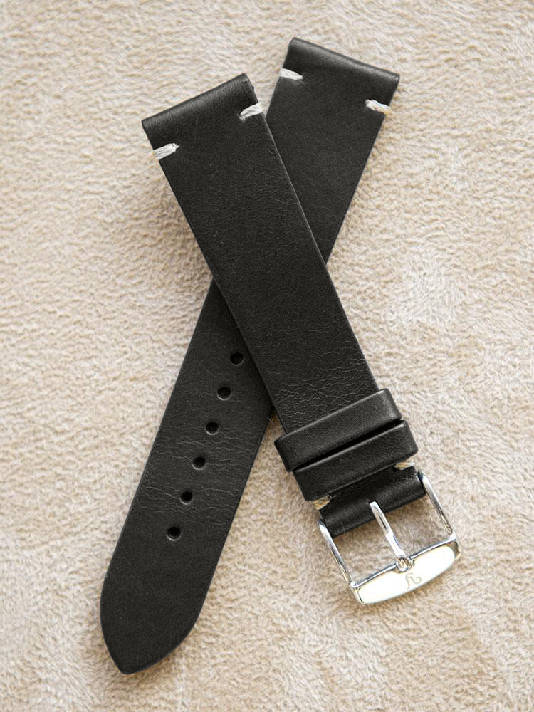 Black Leather Vintage Watch Band 19mm