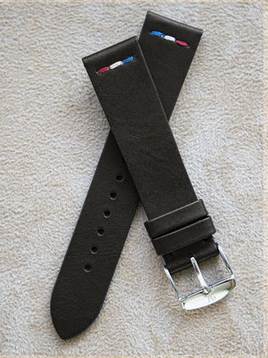 Black Leather Vintage France Flag Watch Band 19mm