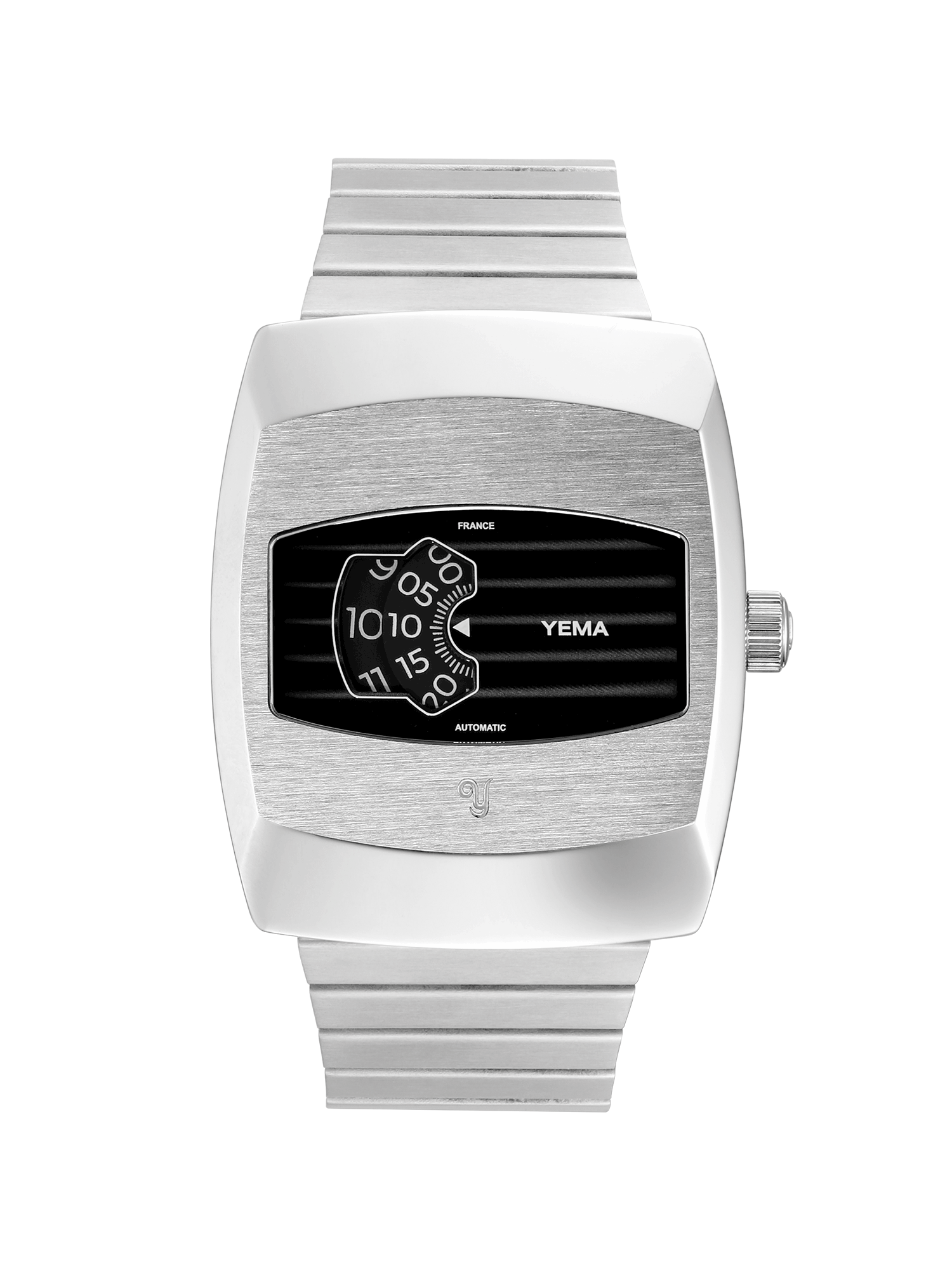 YEMA Digidisc Black Rotatic Disc watch, Black Dial, brushed steel case