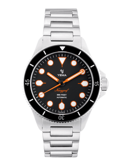 YEMA Navygraf Maxi Dial, black dial, oversized flashy orange index.