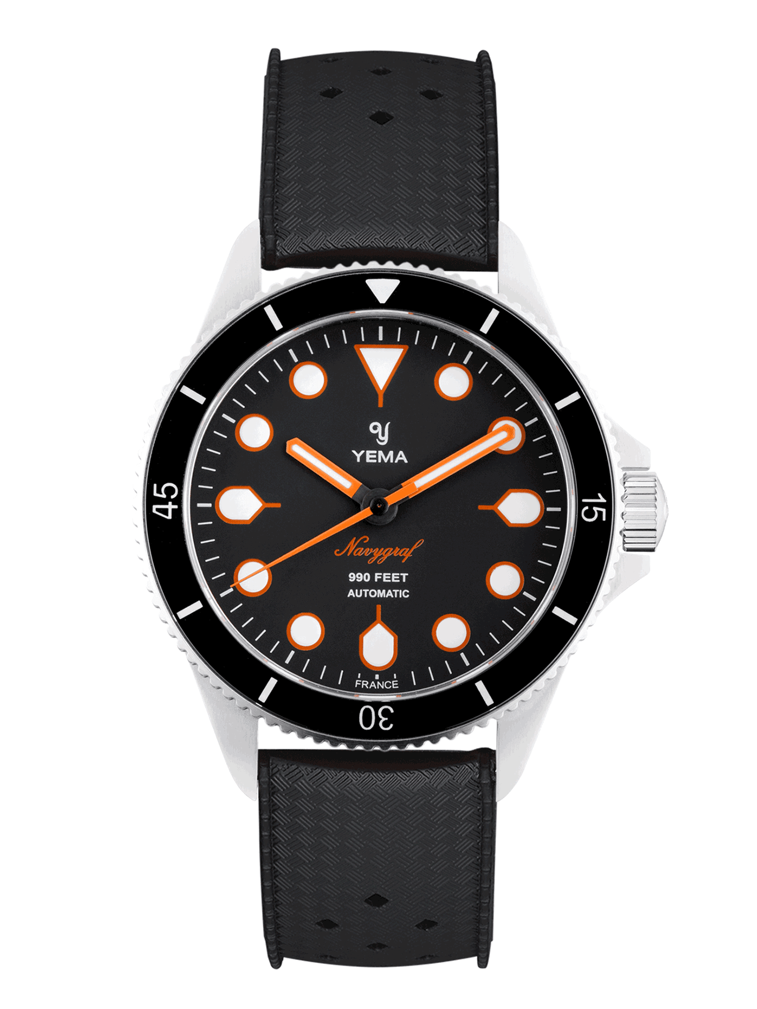 YEMA Navygraf Maxi Dial, black leather strap