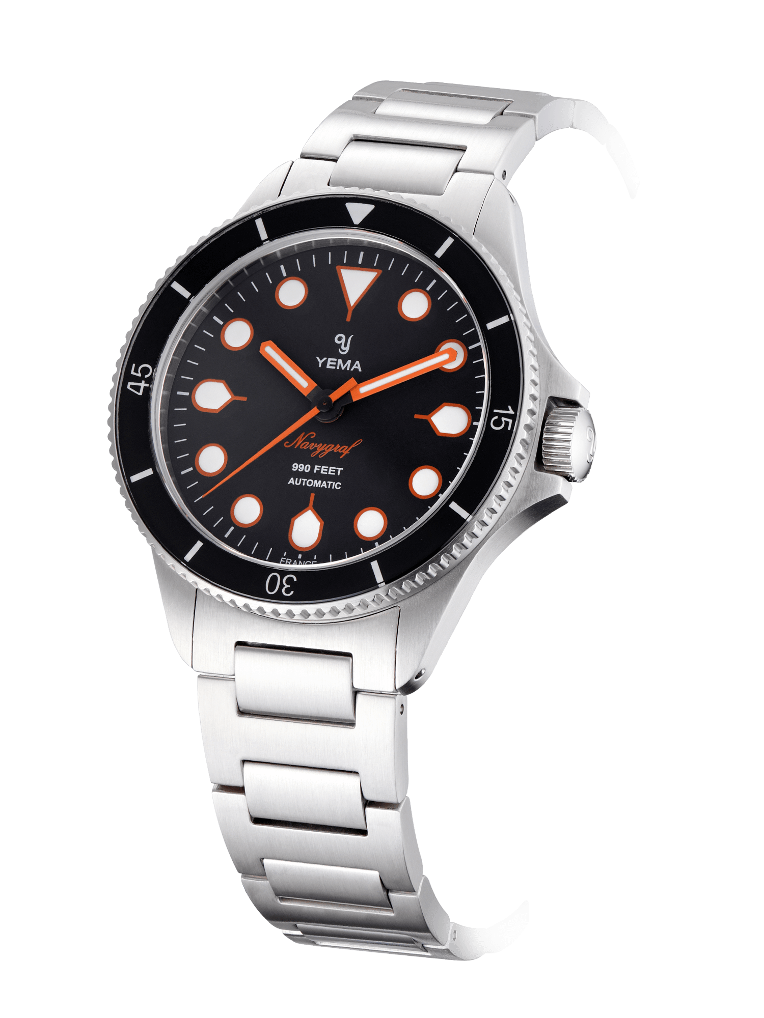 YEMA Navygraf Maxi Dial, domed sapphire crystal, steel bracelet, flashy orange hands, steel bracelet