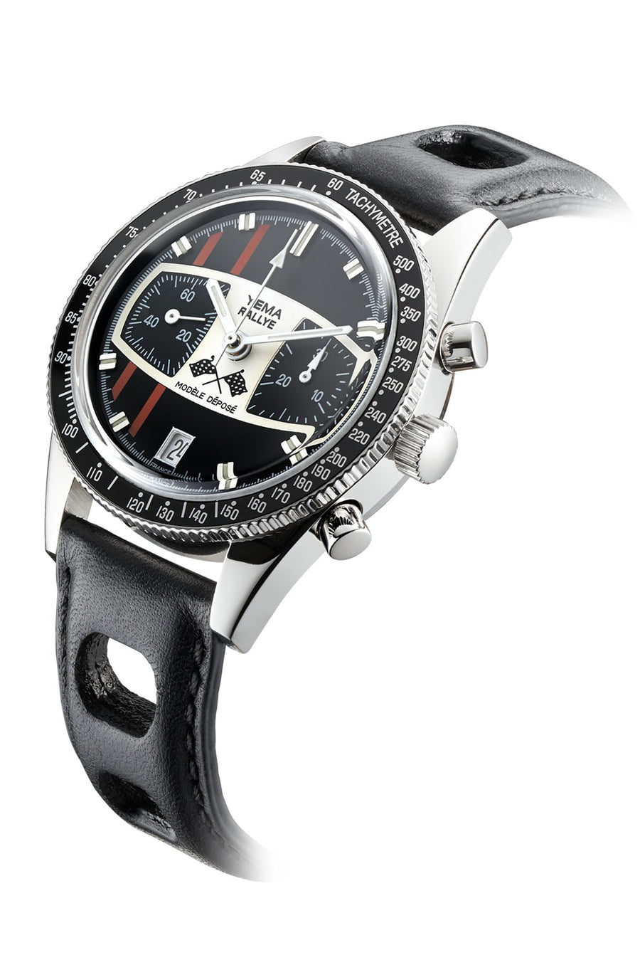 YEMA Rallye Andretti Limited Edition watch, black leather bracelet, blakc white and red dial.