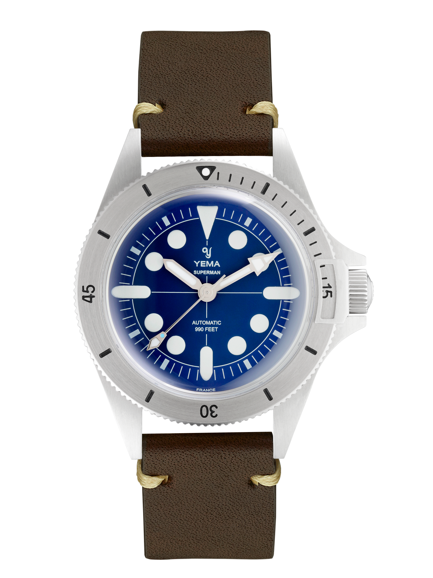YEMA SUPERMAN MAXI DIAL BLUE, brown leather strap