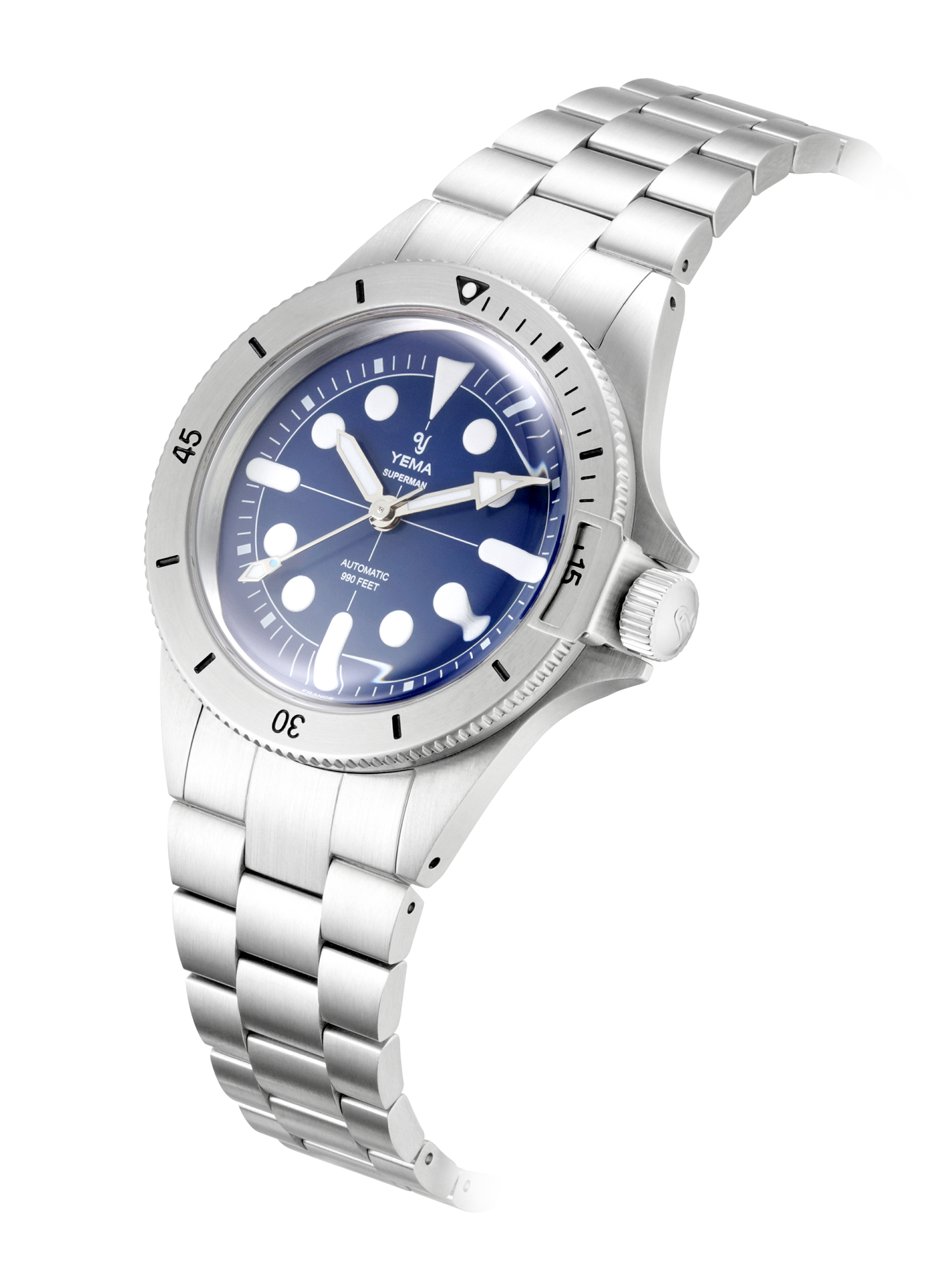 YEMA SUPERMAN MAXI DIAL BLUE, silver bezel, bezel lock mechanism.