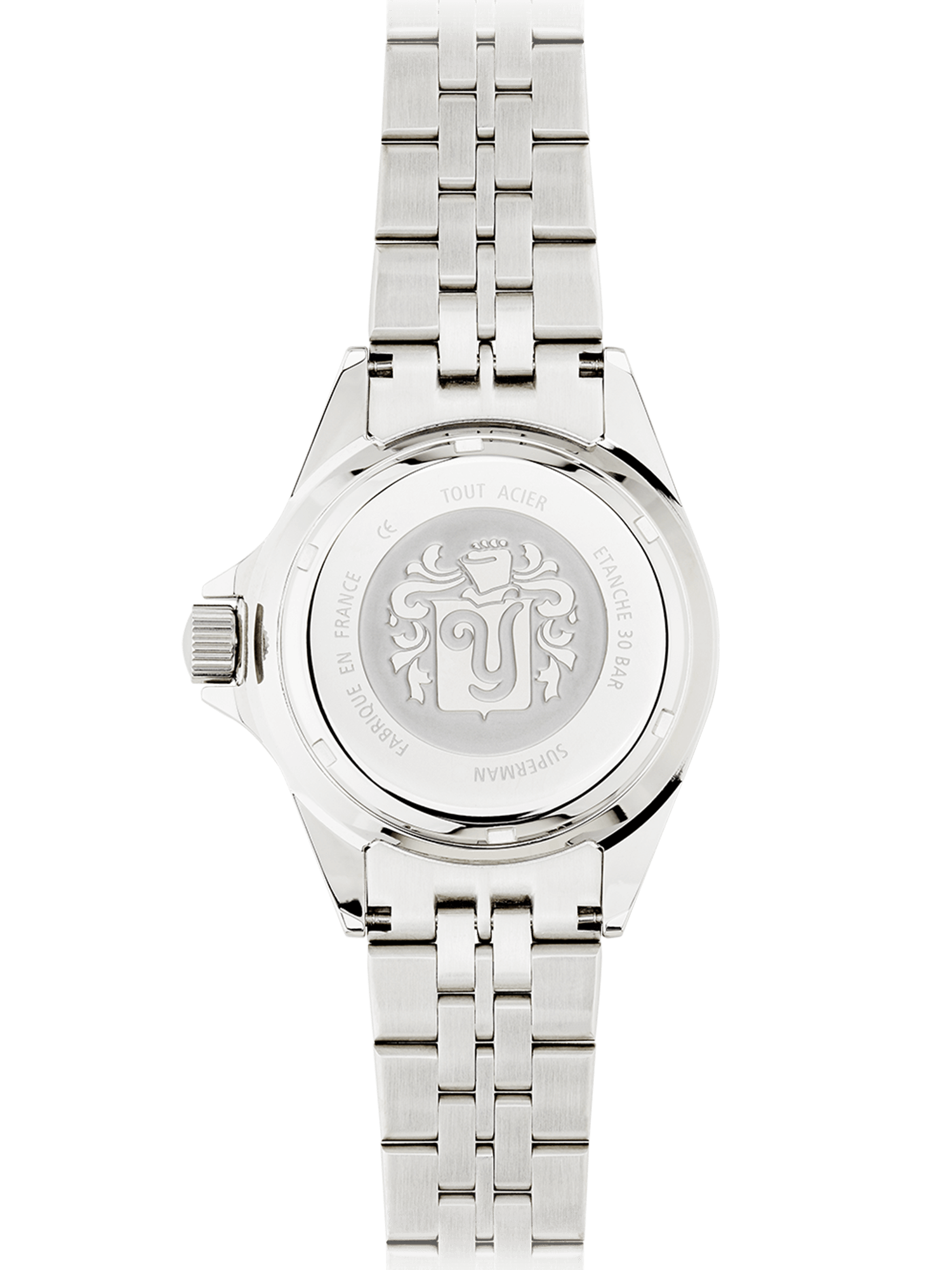 YEMA Superman Heritage watch, 316L steel backcase, YEMA crest embossed.