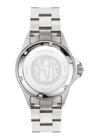 YEMA Superman II MAxi Dial watch, steel caseback, YEMA logo engraved and embossed brushed effect.