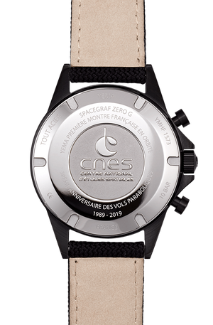 YEMA Spacegraf ZERO-G watch, black Canvas (fabric) with leather lining watch strap.