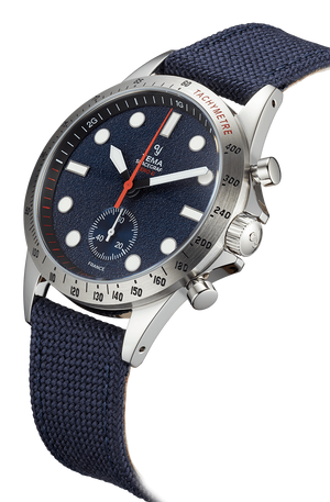 YEMA Spacegraf Zero G Steel Blue watch, 316 Steel case, White domed markers.