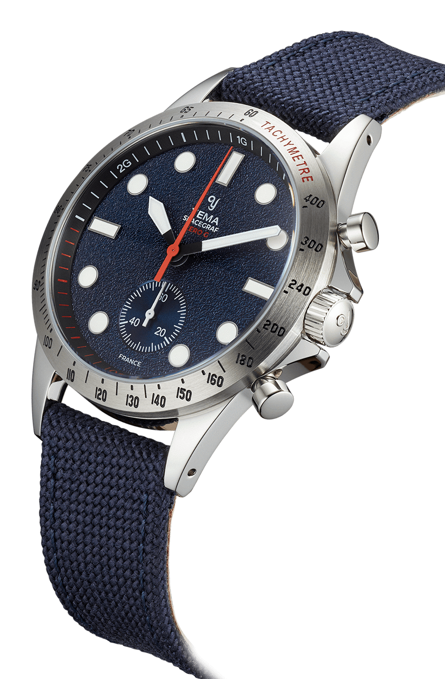 YEMA Spacegraf Zero G Steel Blue watch, Textured blue dial, 2G zones in white, Zero-G zone in red.