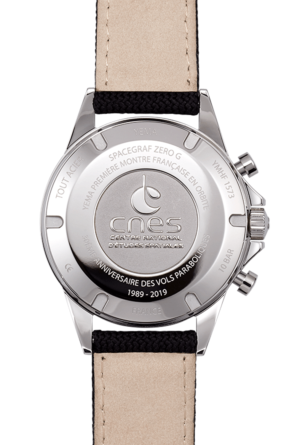 YEMA Spacegraf ZERO-G Steel Black watch, steel caseback engraved with CNES official logo.