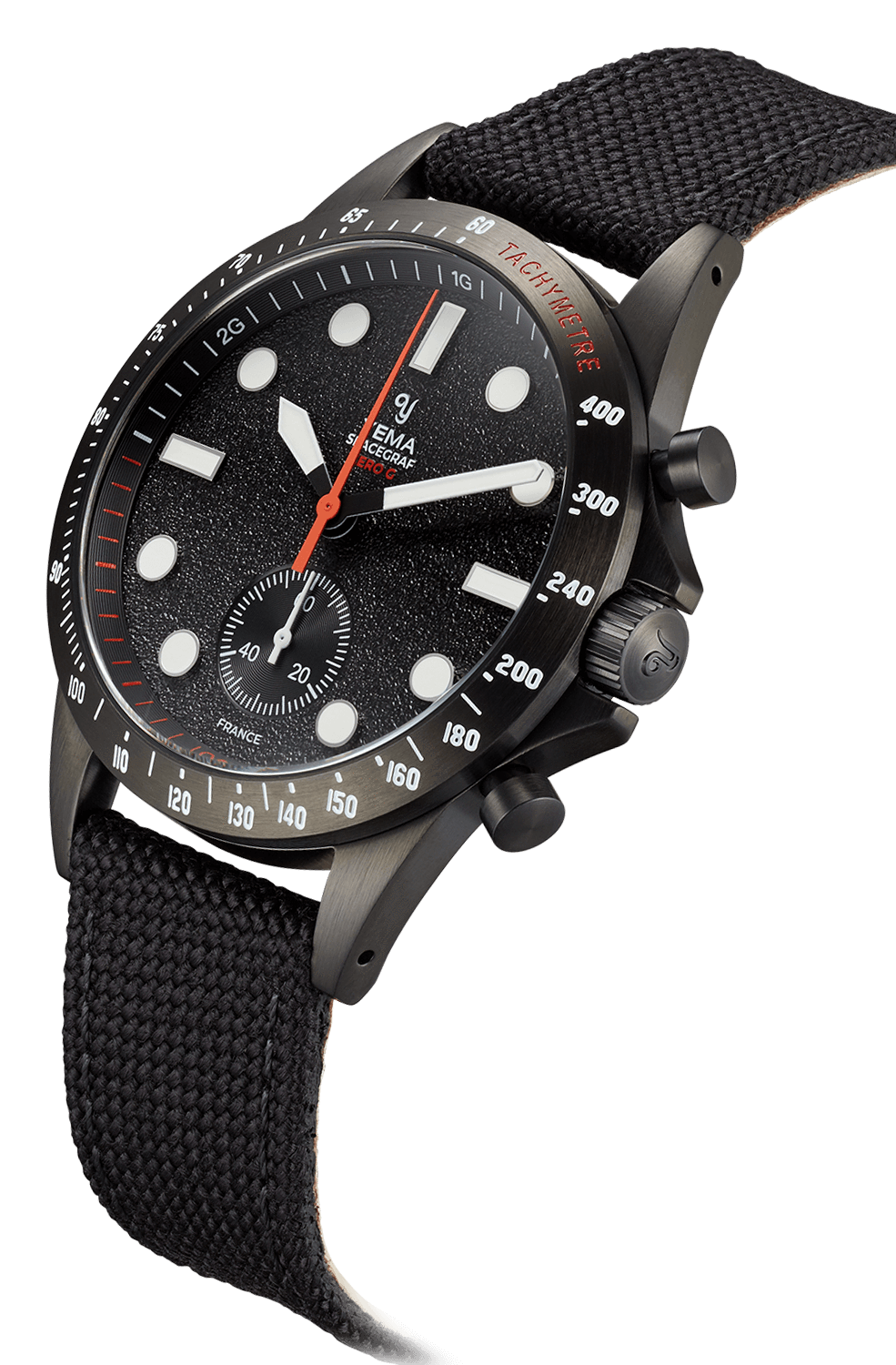 YEMA Spacegraf ZERO-G watch, PVD coated Steel bezel, Tachymeter scale engraved.