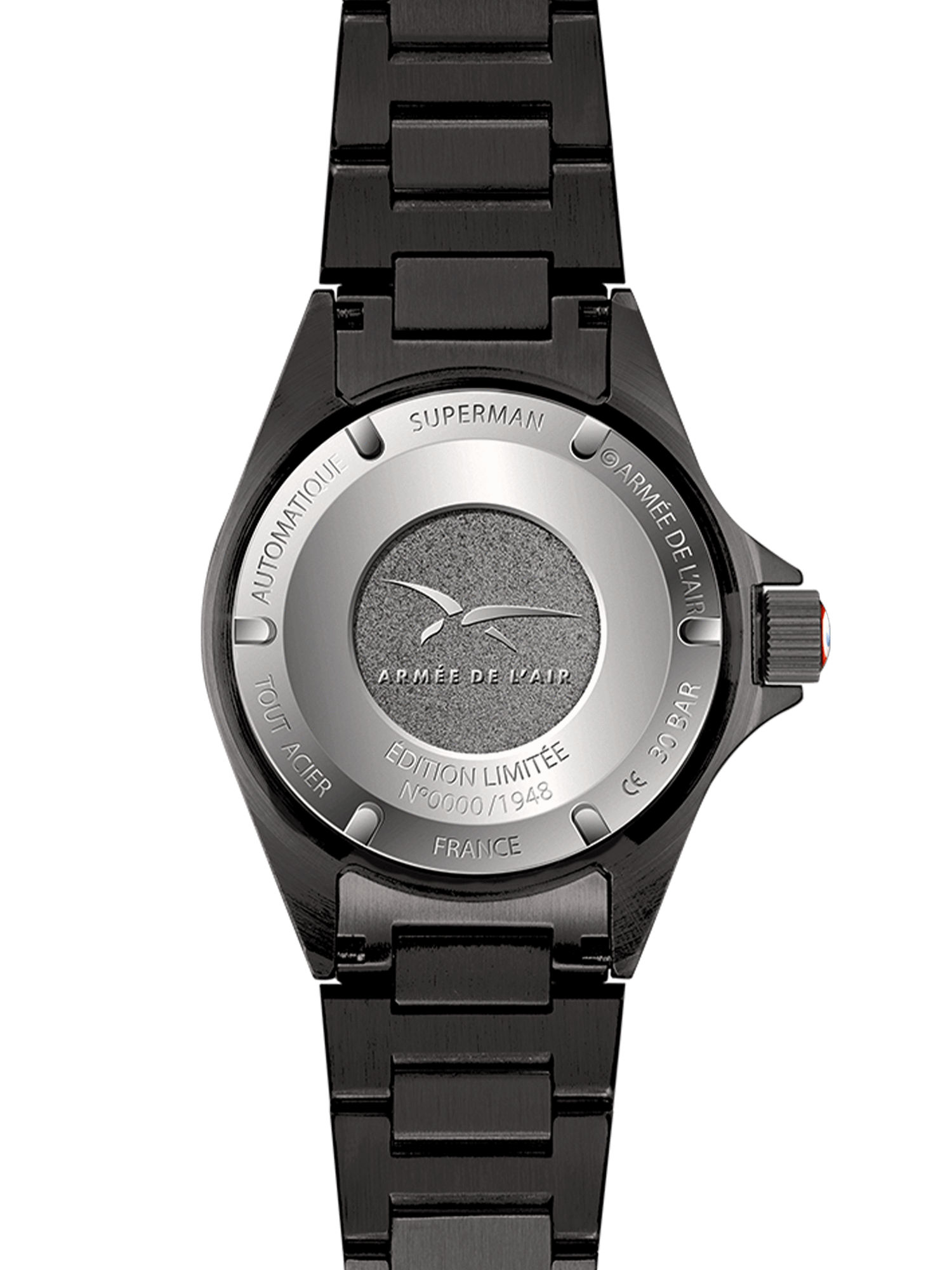 YEMA Superman French Air Force Black Limited Edition, Steel casebackFrench Air Force crest embossed.
