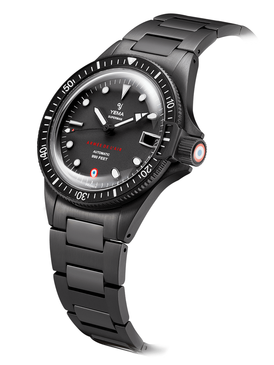 YEMA Superman French Air Force Black Limited Edition,Matt black with stamped French Air Force dark red logo.