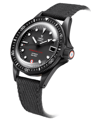 YEMA Superman French Air Force Black Limited Edition, Screw-down crown, black PVD coated, Stamped French Air Force national insignia stamped under a crystal coating.