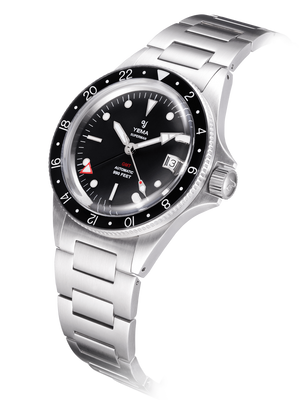 YEMA Superman GMT Black watch, domed sapphire crystal, sapphire bezel with black insert.