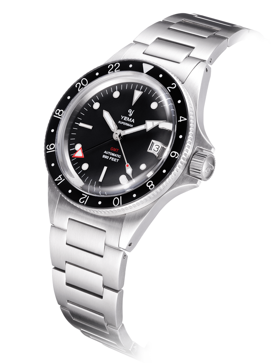YEMA Superman GMT Black watch, 316L steel bracelet, gmt function, black dial.