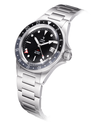 YEMA Superman GMT Black Gray, sapphire bezel with upper black insert and then grey insert.