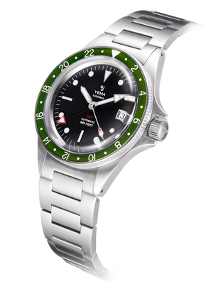 YEMA Superman GMT Khaki Green, domed sapphire crystal, steel brushed effect case.