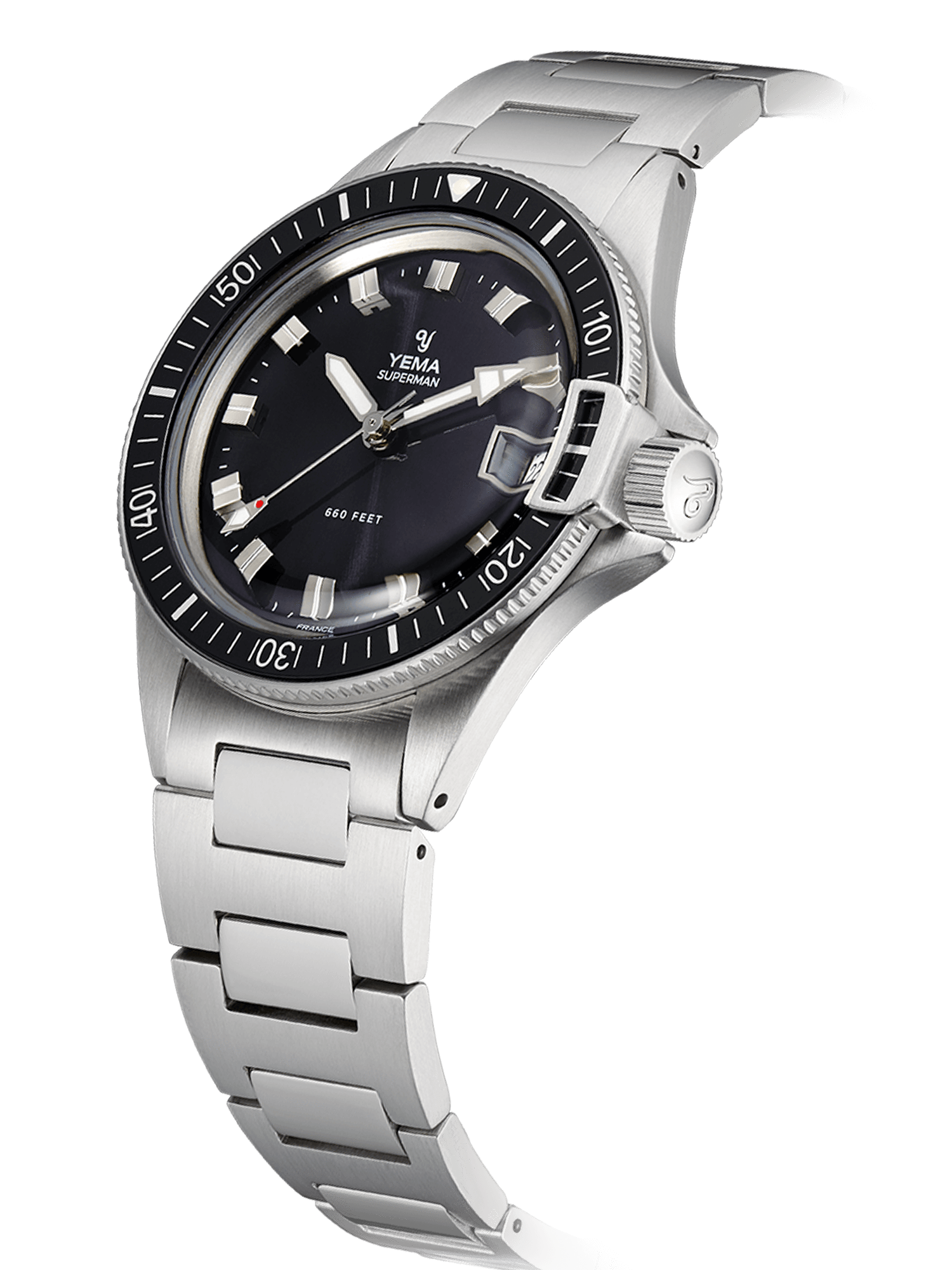 YEMA Superman Heritage black quartz, steel diving bezel-lock, domed mineral crystal.