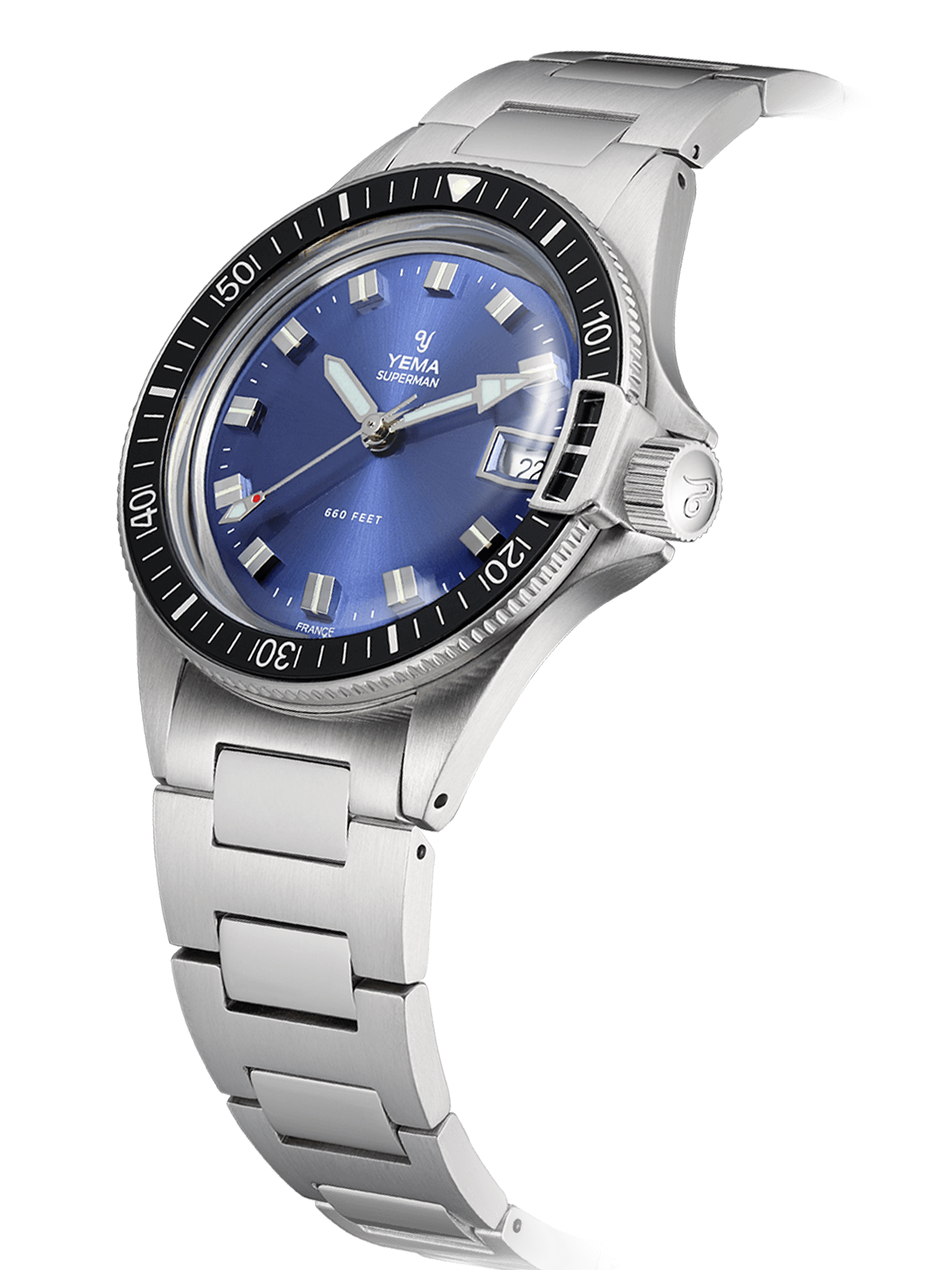 YEMA Superman Heritage Blue quartz, bezel with black insert, domed mineral crystal.