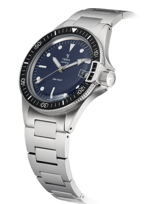 YEMA Superman Heritage Dark blue, domed mineral crystal, steel bezel-lock.