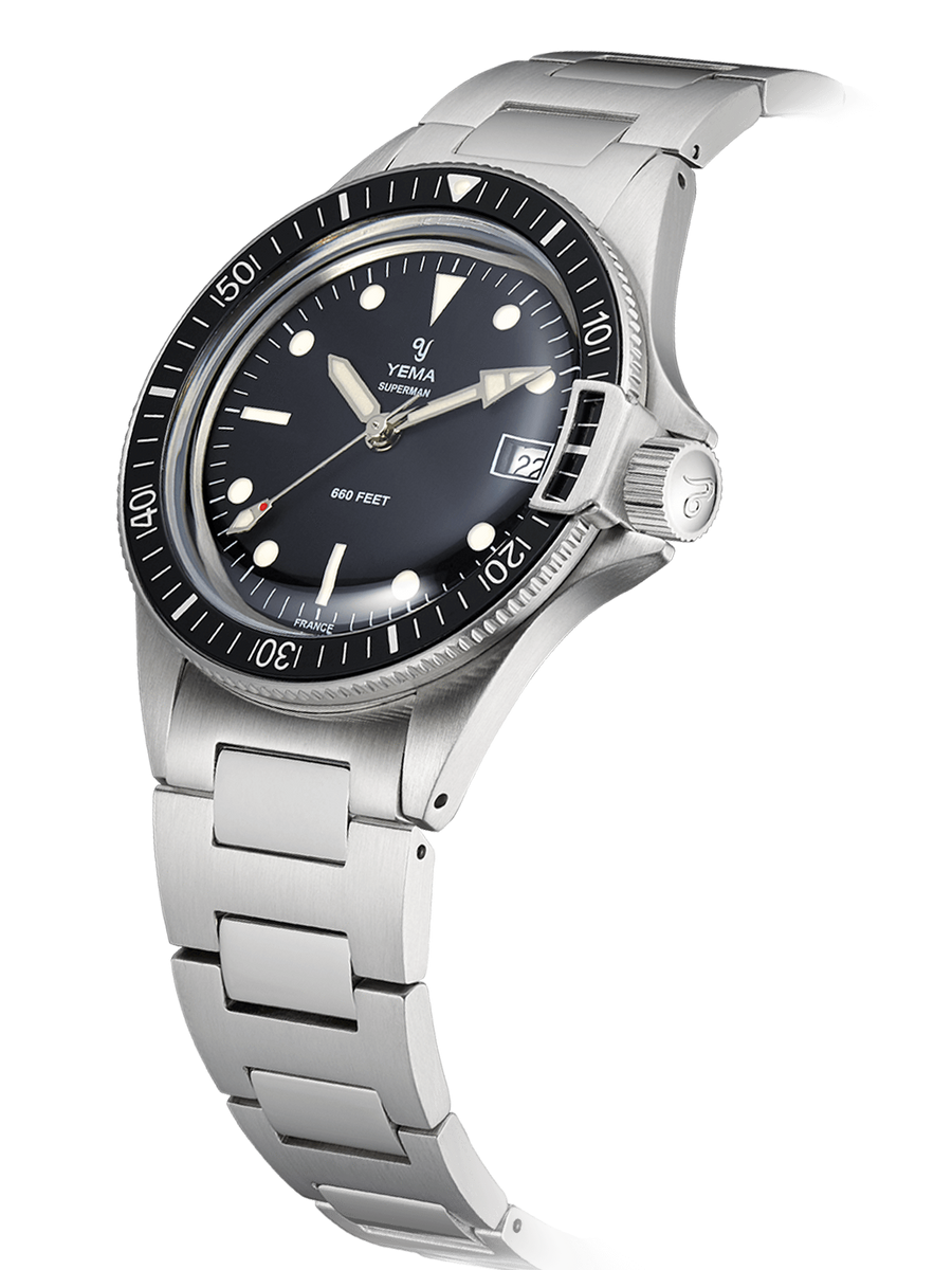 The YEMA Superman Heritage Quartz is a water resistant watch up until 660 feet.