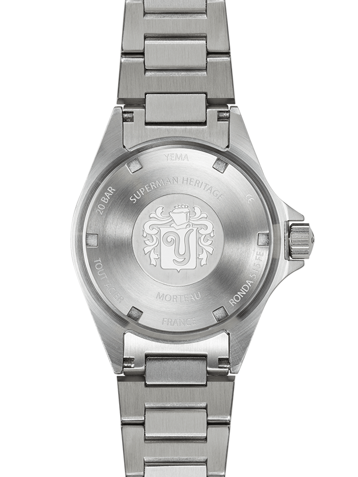 YEMA Superman Heritage Dark blue, steel caseback, YEMA logo engraved at the center.