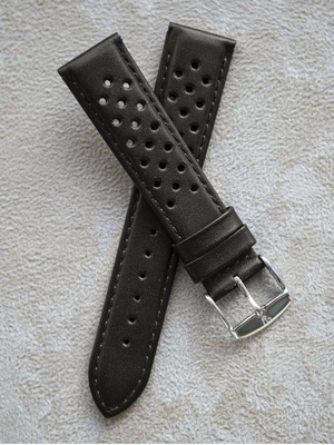 Rally Perforated Calfskin Black Watch Band 20mm